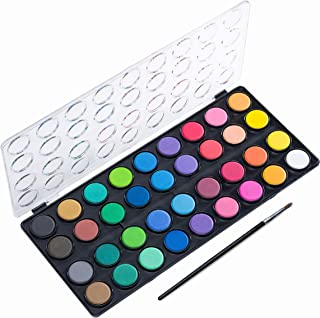 Watercolor Paint Set, 36 Vibrant Vivd Color Cakes, with 1 Paint Brush, in a Nice Sturdy Water-Color Pan - Perfect for Artists and Beginners