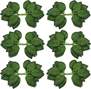 Fake Artificial Leaves for Roses Decorations - 36 Silk Green Roses Flowers Leaf with Realistic Vines Flexible Stems - Ideal for Wedding Arrangements Centerpieces Small Bouquets Garland Crafts