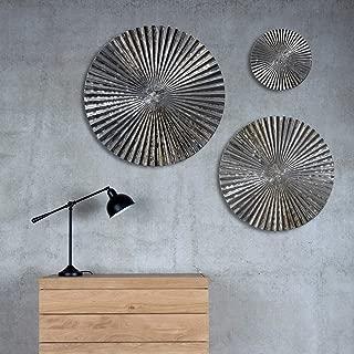 Decorlives Set of 3 Mirror Finish Sunburst Large Metal Wall Art Decorative Sculpture Hanging Wall Décor