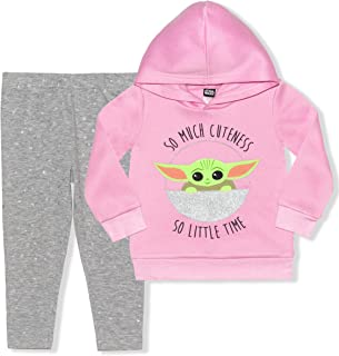 Star Wars The Mandalorian Hoodie and Leggings Set, Baby Yoda Comfy Active Wear for Girls