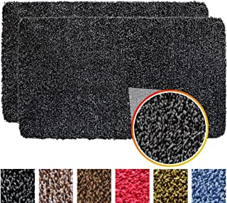 "IRONGECKO Original Durable Absorbs Microfiber Mud Indoor Mat 2 Pack (29.5x17) Heavy Duty Door mat | Easy Clean, Low-Profile Mats for Entry,High Traffic Areas. (17"" x 29.5"" (2 Pack), Gray/Black)"