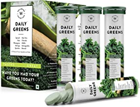 Wellbeing Nutrition Daily Greens; Whole food Multivitamin & Multi-Mineral for Immunity and detox with 39+ Organic Certified Plant Superfoods and Antioxidant Supplements (15 Effervescent Tab) (4 Pack)