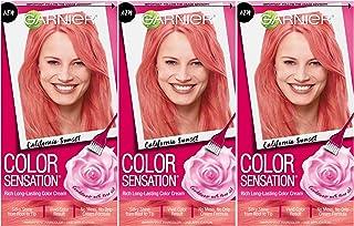 Garnier Hair Color Sensation Hair Cream, California Sunset Coral Pink, (Pack of 3)