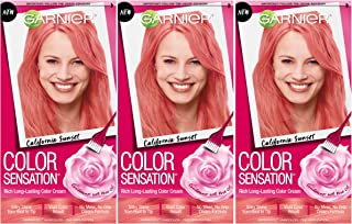 Garnier Hair Color Sensation Hair Cream, California Sunset Coral Pink, 3 Count