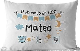 Cojín Natalicio Datos de Nacimiento personalizado 50x30 cm, para niño niña de color a escoger, regalos originales y únicos...