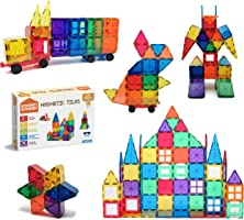 STEAM STUDIO 120pcs Magnetic Tiles Including Two Cars, Secured with Rivets, BPA Free Kids Toys, Rainbow Colours Building...