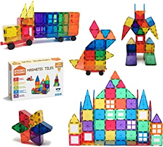 STEAM Studio Magnetic Tiles 120pcs Set Including Two Cars, Secured with Rivets, Clear Colours Building Blocks, Building & ...