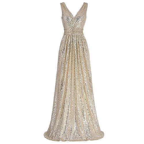 a31a26c007 Kate Kasin Women Sequin Bridesmaid Dress Sleeveless Maxi Evening Prom  Dresses