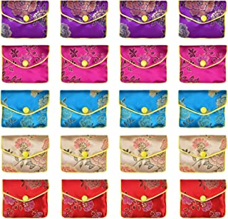 Hvinie Jewelry Silk Purse Gift Bags Chinese Silk Style Brocade Embroidered Bags for Women Girls 5 Colors, 20pcs