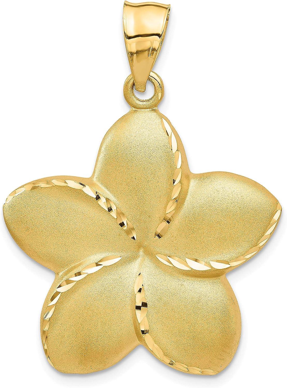 14k Yellow Gold Satin Diamond-cut Alternative dealer 2021new shipping free shipping Open-Backed Large Plumeria Pen
