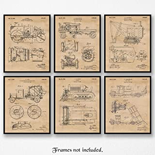 Original Construction Trucks Patent Poster Prints, Set of 6 (8x10) Unframed Photos, Wall Decor Gifts Under 20 for Home, Office, Garage, Man Cave, Shop, Teacher, College Student, Transportation Fan