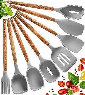 Lot de 8 Ustensiles de Cuisine Silicone - Ustensiles de Cuisine Bois D'acacia - Antiadhésive Ustensile Cuisine Set Spatule...