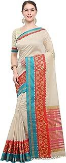 Pisara Women Kanjivaram Silk Cotton Saree With Blouse Piece,Cream sari