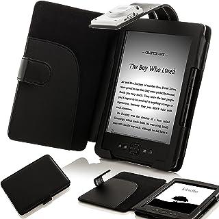 Forefront Cases Funda Cubierta de Cuero sintético para con luz LED para Lectura Color Negro, Case Cover para el Nuevo Amazon Kindle 4, Pantalla de E Ink de 6