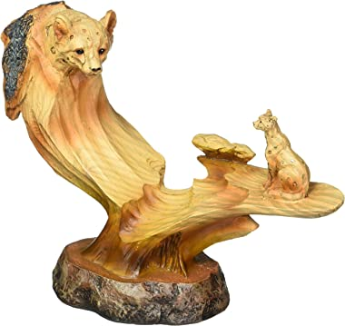 """StealStreet SS-UG-MMD-178, 6.5"""" Leopard & Cub in The Wild Faux Wood Bust Scene Figurine"""