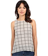 Michael Stars - Plaid Mesh Sleeveless Top w/ Split Back