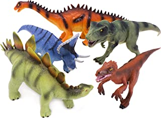 Boley Authentic Educational Kids Dinosaur Toys for Boys and Girls - 5 Piece Set Small Plastic Realistic Dinosaurs Toy Set with Dino Guide