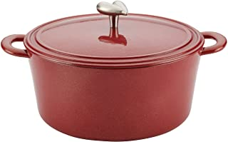 Ayesha Curry Cast Iron Enamel Casserole Dish/ Casserole Pan / Dutch Oven with Lid - 6 Quart, Sienna Red