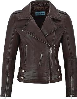 Carrie CH Hoxton Señoras Chaqueta de Cuero Real diseñador de Moda 100% Piel de Cordero Biker Estilo 5816