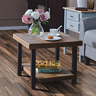 Coffee Table Easy Assembly Rustic Natural End Table with Storage Shelf for Living Room (22