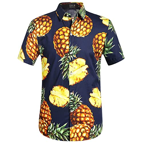 98621e48e77f10 SSLR Men s Pineapple Short Sleeve Aloha Cotton Hawaiian Shirts