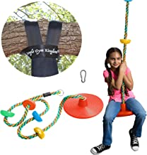 Jungle Gym Kingdom Tree Swing Climbing Rope Multicolor with Platforms Red Disc Swings..