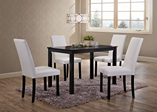 Kings Brand Wood Dining Dinette - Kitchen Table & 4 Upholstered Parson Chairs (White)