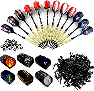 Wolmund Soft Darts, 12 Pc 18g Plastic Tipped Darts Set with Aluminum Shafts, Brass Steel Barrels, 48 Flights, 120 Tip Points for Electronic Dartboard