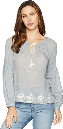 Long Sleeve Melange Gauze Peasant Blouse