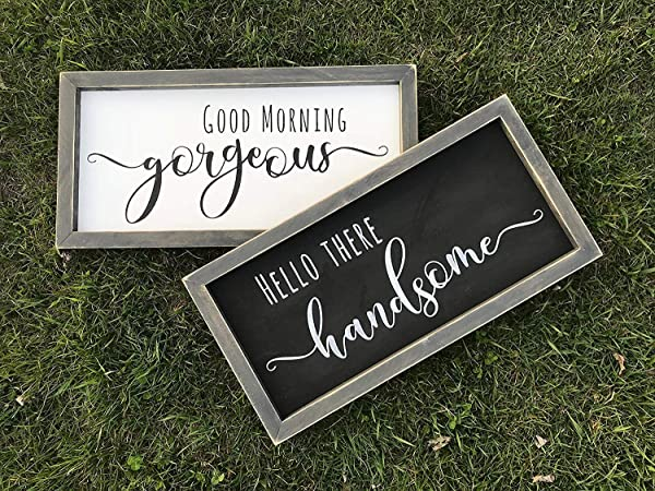 Framed Sign 20x30cm Good Morning Gorgeous Hello There Handsome Signs Rustic Bedroom Decor Farmhouse Bedroom Decor Shabby Chic Bedroom Decor Romantic Decor