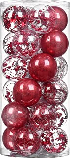 XmasExp Red Christmas Ball Ornaments Shatterproof, Plastic Ball Decoration Set Baubles Stuffed Delicate Glittering Ornaments for Holiday Wedding Party Decoration, (24ct 70mm/2.76