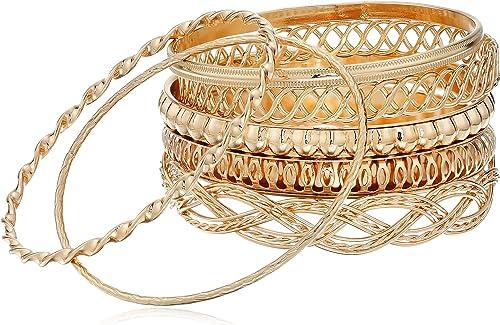 "GUESS ""Basic"" Gold 7 Piece Mixed Bangle Bracelet"