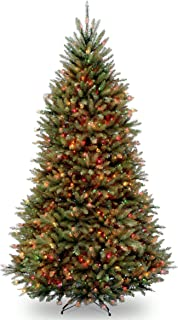 National Tree 9 Foot Dunhill Fir Tree with 900 Multicolor Lights, Hinged (DUH-90RLO)