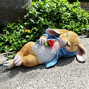 iRonrain Garden Statue Rabbit, Fantasy Animal Outdoor Art Décor Figurine Ornament Statues Bunny for Yard Office Home Forecourt Indoor Sculpture (Blue)