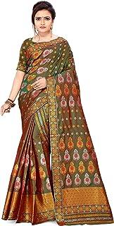 S Kiran's Women's Assamese Machine-Weaving Poly Silk Mekhela Chador Saree (Dn6066, Mehendi)