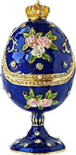 Apropos Hand-Painted Vintage Style Faberge Egg with Rich Enamel and Sparkling Rhinestones Jewelry Trinket Box (Royal Blue)