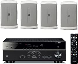 Yamaha 7.2-Channel Wireless Bluetooth 4K Network A/V Wi-Fi Home Theater Receiver + Yamaha High-Performance Natural Surround Sound 2-Way Indoor/Outdoor Weatherproof Speaker System (Set of 4)