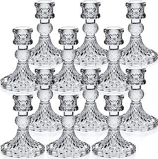 "DARJEN Candlestick Holders Set, 4"" H Taper Candle Holders Bulk, 12Pcs Clear Glass Candle Holders for Wedding, Festival, Pa..."