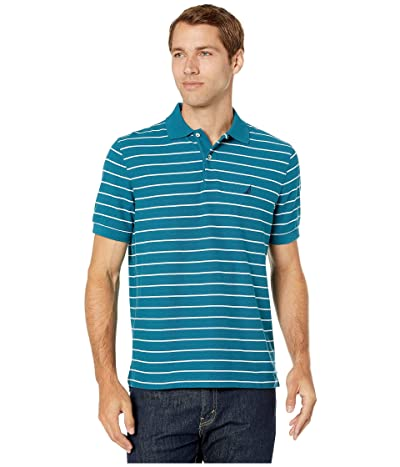 Nautica Striped Deck Polo Shirt (Blue Coral) Men