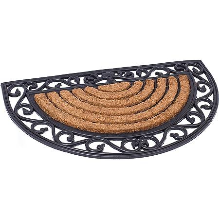BIRDROCK HOME 18 x 30 Half Round Natural Coir and Rubber Doormat with Scroll Border - Natural Fibers - Outdoor Doormat - Keeps Your Floors Clean - Decorative Design - Brush Coir