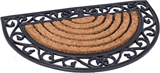 BIRDROCK HOME 18 x 30 Half Round Natural Coir and Rubber Doormat with Scroll Border - Natural Fibers - Outdoor Doormat - K...