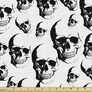 Lunarable Skull Fabric by The Yard, Skulls Pattern Monochrome Detailed Sketch Human Skeleton Head Fear Halloween Theme, De...
