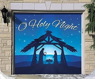 Victory Corps Outdoor Christmas Holiday Garage Door Banner Cover Mural Décoration - Nativity Scene O Holy Night - Outdoor Christmas Holiday Garage Door Banner Décor Sign 7'x8'