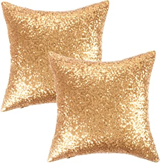 Kevin Textile New Year Decorative Solid Sequins Throw Pillow Cover Sham 45 x 45 cm Decor..