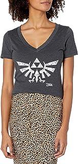 Nintendo Women`s Zelda Floral Triforce Logo V-Neck Graphic T-Shirt
