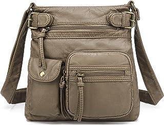 Scarleton Multi Pocket Crossbody Bag for Women, Ultra Soft Washed Vegan Leather Shoulder..