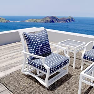 """LVTXIII Outdoor/Indoor Deep Seat Cushion Patio Seat and Back Cushion Set All-Weather Replacement Chair Cushion for Arm Chairs, Wicker Chairs and Garden Furniture Decoration, 25""""x25""""x5"""", Tie-dye Navy"""