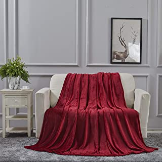 All American Collection Super Soft Ultra Comfort Plush Microfiber Throw Blanket for Couch Home Bedroom Living Room (King, Solid Burgundy)