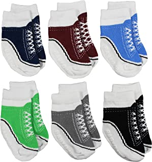 Baby Boy and Girl Socks That Look Like Gym Shoes – 6 Pairs of Non-Skid Socks – Fits 0-12 Months