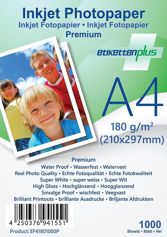 EtikettenPlus Ltd, Ltd, Ltd, 1000 Blatt, Premium Fotopapier, EF41801000P, A4 (210x297 mm) 180g qm hoch-glänzend (high-glossy), wasserfest, sofort wischfest für alle Tinten- und Fotodrucker B018NX2C24 | Bekannt für seine hervorragende Qualität  d10135